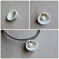 Single Seashell Pearl Leather Necklace
