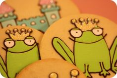 Omg i love frogs, ecspecially in cookie form (: Frog Cookies, Iced Sugar Cookies, Cute Cookies, Third Birthday, Birthday Ideas, Birthday Parties, Cookie Ideas, Cookie Recipes, Princess Cookies