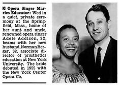 Opera Singer Adele Addison and hubby Norman Berger Jet Magazine, July 17, 1958 (jet 35)