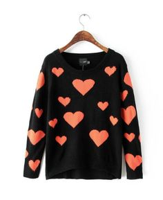 WST 7180 Love Orange Sweater www.kiyomicollections.com