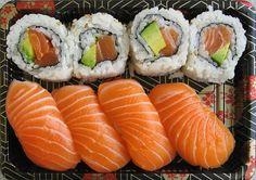 Sushi and Nigiri . Dessert Chef, Sushi Lunch, Sushi Food, Sashimi Sushi, Homemade Sushi, Best Sushi, Sushi Recipes, Food Goals, Aesthetic Food
