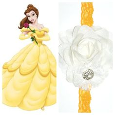 The Belle Headband The Disney Collection - Princess headband, Beauty the Best, Belle, Disneyland, Disney Belle Dress Up, Princess Belle Dress, Baby Princess, Disney Bows, Baby Disney, Diy Headband, Baby Headbands, Beauty And The Best, Diy Hair Accessories