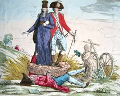 A political cartoon reflecting the French society in the 18th century portraying the Third Estate squished by the First and Second Estate