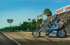 """Pit Stop at the Bait Shack"" - Originals - David Mann Originals - David Mann - Rally Fine Art | Fine Art World Motorcycle Art, Bike Art, David Mann Art, Drawn Art, Harley Davidson Logo, Easy Rider, Community Art, Motorcycles, Paintings"