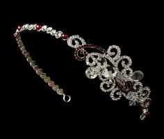 Red Crystal Bridal Headband with Side Accent