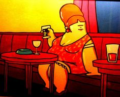 Fat woman drinking in wine bar