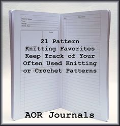 21 Project Knitting/Crochet Patterns Favorites insert for your Midori or Fauxdori Traveler's Notebook. 26 Cover Color Choices 9 Insert Sizes by AORJournals from AOR Journals by Ann. Find it now at http://ift.tt/2hDWt8I!