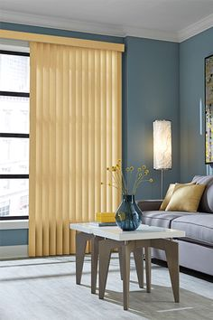 Vertical window coverings don't have to be boring! These Graber vertical vinyl blinds are from the Acropolis Collection (color - Olive Oil These blinds feature cord and chain control. Sliding Glass Door, Window Treatments, Glass Door Curtains, Custom Blinds, House Window Design, Sliding Door Window Treatments, Blinds Design, Patio Door Coverings, Window Design