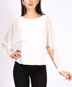 This White Tiered Sheer Overlay Boatneck Top is perfect! #zulilyfinds...also in black
