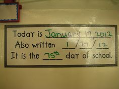 This is a great way to have math in the classroom is through calendar math. This could be done during circle time or morning meeting. The different ways that it is written could also be put on the top of their papers. Classroom Design, Kindergarten Classroom, School Classroom, Teaching Math, Classroom Ideas, Teaching Ideas, Classroom Calendar, Classroom Displays, Future Classroom