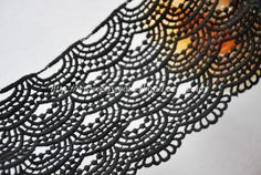 Black Venice lace Cotton Wave Embroidery Lace Trim by Lacebeauty, $5.99