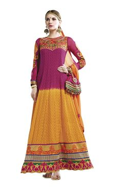 Pink & Yellow Georgette Traditional Suit