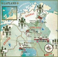 Illustration/Map: Lapland, which covers much of the northern areas of Finland, Sweden and Norway, illustrated here for Lonely Planet Travel magazine by French designer Cartographik Lappland, Travel Maps, Travel Posters, Lonely Planet, Sweden Map, Trips To Lapland, Planet Map, Tourist Map, Scandinavian Countries