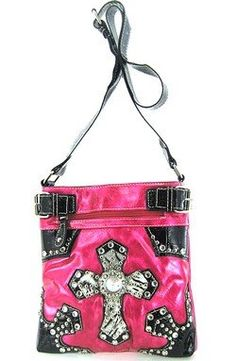 Size : 10w X 10.5h X 2d in.  The purse drop Length of the handle 24 in.   Material : PVC Laminated   Description:  * Zipper Closure   * Cellphone Pocket & Extra Pocket Inside   * One Zippered Pocket Inside   * Two Zipper Pocket on Front  * Zipper Pocket on Rear  * Adjustable Single Strap  * Cross Rhinestone & Silver Hardware Accents   * High Quality Soft PVC Laminated