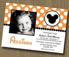 Welcome to EyeCandee Design! Make your child's party special with these unique custom designed photo invitations! Our invitations can be Mickey First Birthday, Mickey Mouse Clubhouse Birthday Party, 3rd Birthday, Birthday Ideas, Birthday Parties, Halloween Birthday Party Invitations, Mickey Halloween Party, Minnie Mouse Halloween, Happy Halloween