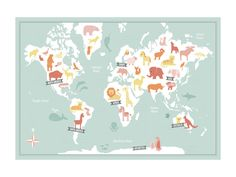 Animal World Map by Jessie Steury for Minted