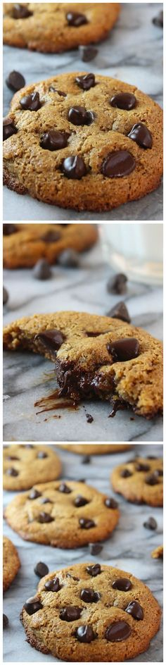Almond Butter Chocolate Chip Cookies - Crispy around the edges and chewy in the middle – these flourless almond butter cookies are sure to be your new favorite cookie!