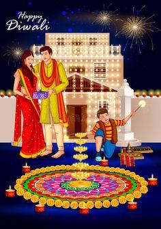 Illustration about Easy to edit vector illustration of people celebrating Happy Diwali holiday India background. Illustration of ceremony, husband, india - 78369932 Diwali Painting, Diwali Drawing, Happy Diwali Pictures, Diwali Photos, Diwali Greetings, Diwali Wishes, Diwali Celebration, Festival Celebration, Festivals Of India