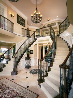 Double staircase in the Henley Foyer at Tridelphia Crossing, Maryland!