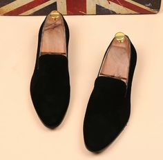 Black Swede Leather Loafers