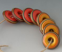 Chunky Rings  8 Handmade Lampwork Beads  Coral Squash by outwest