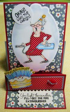 Art Impressions: Ai People: Fire Out Set (Sku#4371) Giant Cake Set (Sku#4382) girlfriends ... handmade birthday card. easel
