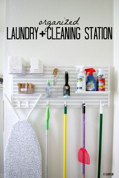 Laundry Room Design: IHeart Organizing: UHeart Organizing: Coming Clean. Broom Storage, Laundry Room Organization, Laundry Room Design, Craft Organization, Laundry Organizer, Storage Shelves, Storage Ideas, Laundry Rack, Organizing Ideas