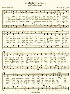 "Sheet Music for ""A Mighty Fortress"" by Martin Luther. Confession: Mark and I like this hymn so much (and we miss hymns because churches don't do hymns any more) that occasionally he will pound it out on the piano and we sing it. Hymns Of Praise, Praise Songs, Praise God, Church Songs, Church Music, Christian Song Lyrics, Christian Music, Gospel Music, Music Lyrics"