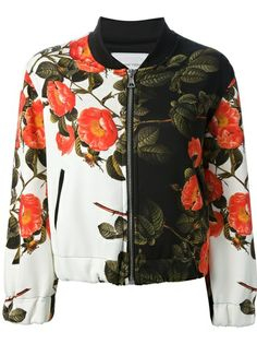 Shop THE TEXTILE REBELS  floral print bomber jacket from Farfetch