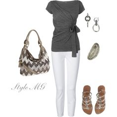 """Gray and White"" by romigr99 on Polyvore"