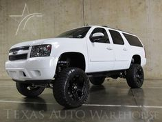 Check out this 2007 Chevrolet Suburban LT LIFTED HEATED SEATS in Summit White from Texas Auto Warehouse in Carrollton, TX 75006. It has an automatic transmission. Engine is 5.3L V8. Call Brady  Bishop at 469-600-3100 today!