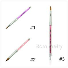 $7.60 Clear Flower Nail Art Acrylic Carving Brush Shining Glitter Handle Acrylic Brush Tools - BornPrettyStore.com
