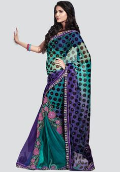 Embroidered Green #Saree - #ethnic