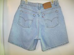 Womens Vintage Levis 551 Relaxed Fit Denim Blue Jean Shorts Sz 14 Red Tab USA #Levis #Denim