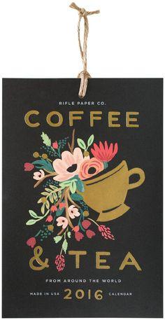 Rifle Paper Co. 2016 Tea and Coffee Wall Calendar ❤ Rifle Paper 2016 Calendar, Guache, Branding, Calendar Design, Art Graphique, Pattern Illustration, Flat Illustration, Planner, Art Plastique