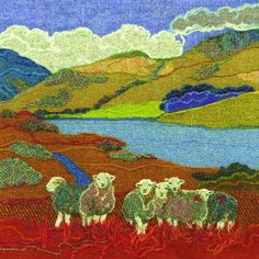 Giclee art prints and greetings cards taken from the Harris Tweed textile art made in Northumberland by textile artist Jane Jackson of Bright Seed Textiles Felt Pictures, Fabric Pictures, Art Textile, Textile Artists, Wool Applique, Applique Quilts, Textiles, Jane Jackson, Landscape Art Quilts