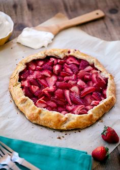 #Fruit #strawberries #dessert  Galette are so simple to make and is very yummy.   Fresh Strawberry Galette@goodeats