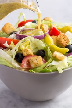 If you love Olive Garden for one thing and one thing only, I can guess what it is: Bottomless soup and salad. But the dressing, which tastes like creamy Italian, is what will really get you hooked.