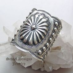 Vince Platero VJP signed LARGE sterling silver stamped repousse cuff bracelet | collectible Native American jewelry | Upscale online Southwestern, Equine, & Native American Jewelry Gallery Boutique | Schaef Designs artisan handcrafted Jewelry | San Diego CA