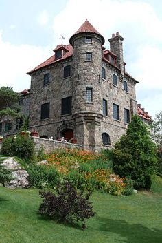 Singer Castle was built for Frederick Gilbert Bourne, president of the Singer Manufacturing Company, producer of the Singer Sewing Machine.  It is on Dark Island, a prominent feature of the St. Lawrence Seaway in the Thousand Islands region of New York.  by Ad Meskens
