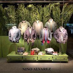 "NINO ALVAREZ, Barcelona, Spain, ""Men's Spring Fashion Orientations"", pinned by Ton van der Veer Barcelona Spain, Visual Merchandising, Spring Fashion, Oriental, Retail, Van, Windows, Display, Amazing"