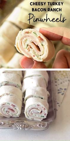 Cheesy Turkey Bacon Ranch Pinwheels are perfect finger foods! Tortillas are loaded with turkey, bacon, ranch, and cheese for an easy holiday party appetizer. These easy turkey pinwheels are definitely a crowd-pleaser for your parties! Pin this for later! Halloween Fingerfood, Holiday Party Appetizers, Fingerfood Party, Snacks Für Party, Halloween Food For Party, Halloween 2020, Easy Halloween, Easy Food For Party, Party Snacks For Adults Appetizers