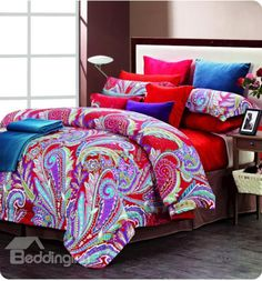 Colorful Phoenix Feathers Print 4 Piece Cotton Bedding Sets #luxurybedding #homedecor @bedding inn