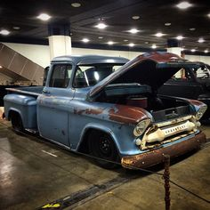 watchtheprettylight:Setting up at Cobo, cool chevy in the basement.  #autorama #browndogwelding #detroit