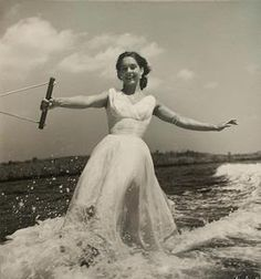 woman water skiing by toni frissell.