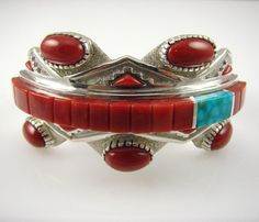 Turquoise and Coral Raised Cuff Bracelet by Michael Perry.