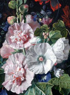 """slojnotak: """" Jan van Huysum - Hollyhocks and Other Flowers in a Vase (1702-20) """""""