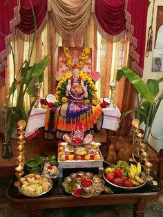 · Decorate the pooja mandapm with Mango leaves & small Banana saplings on both the sides of the mandapam. Diwali Decoration Items, Diwali Decorations At Home, Decoration For Ganpati, Backdrop Decorations, Festival Decorations, Flower Decorations, Diwali Pooja, Diwali Diy, Desi Wedding Decor