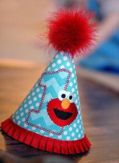 Elmo Birthday Party Hat - First Birthday, Any Birthday, Smash Cake Pics, Photo Prop - Sesame Street Blue Red White Elmo. $30.00, via Etsy.
