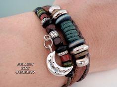 Silver moon charm leather beaded bracelet